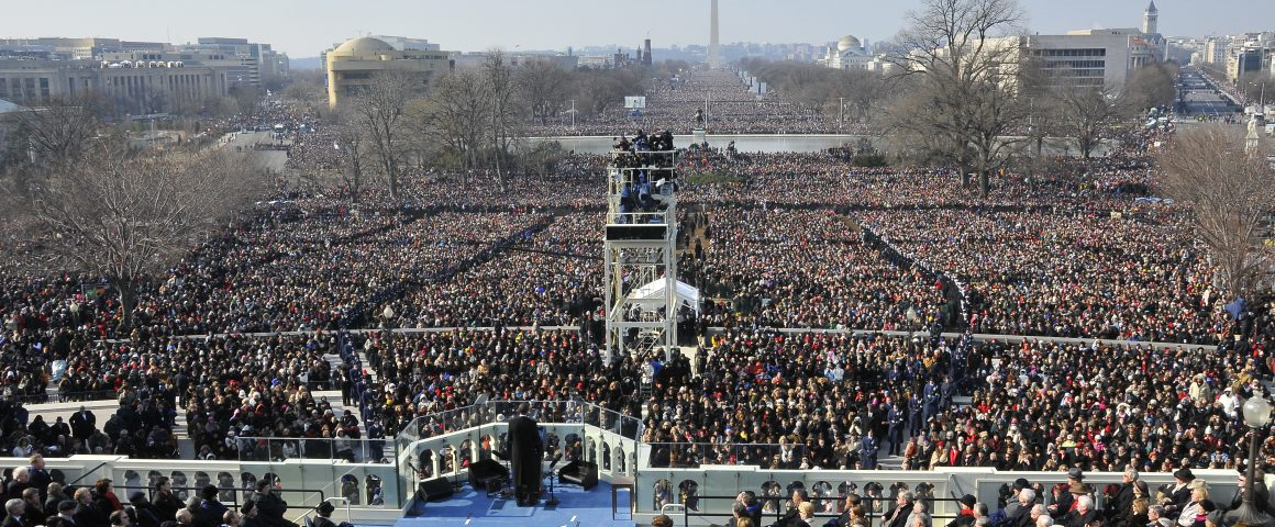 "President Barack Obama gives his inaugural address to a worldwide audience from the West Steps of the U.S. Capitol, calling for ""a new era of responsibility,"" after taking the oath of office in Washington, D.C., Jan. 20, 2009.  More than 5,000 men and women in uniform are providing military ceremonial support to the presidential inauguration, a tradition dating back to George Washington's 1789 inauguration.  (DoD photo by Senior Master Sgt. Thomas Meneguin, U.S. Air Force/Released)"