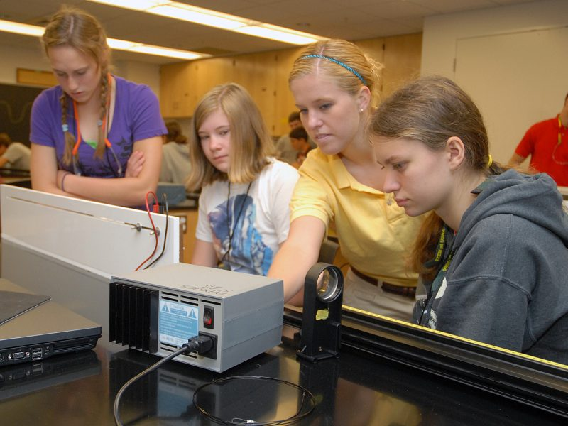 110615-N-OA833-001 ANNAPOLIS, Md. (June 15, 2011) Students participating in the annual Science, Technology, Engineering and Mathematics (STEM) program at the U.S. Naval Academy participate in the atomic fingerprinting workshop. The workshop teaches the students to make waves, diffract light and fingerprint atoms by color using spectroscopy. (U.S. Navy photo by Mass Communication Specialist 1st Class Chad Runge/Released)